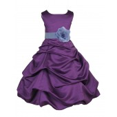 Purple/Bluebird Satin Pick-Up Bubble Flower Girl Dress Easter 808T