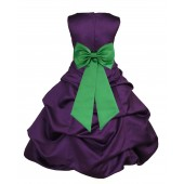 Purple/Lime Satin Pick-Up Bubble Flower Girl Dress Easter 808T