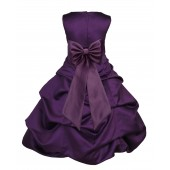 Purple/Plum Satin Pick-Up Bubble Flower Girl Dress Easter 808T