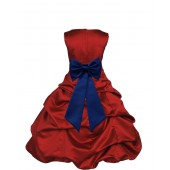 Apple Red/Navy Blue Satin Pick-Up Bubble Flower Girl Dress 808T
