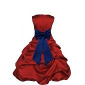 Apple Red/Navy Blue Satin Pick-Up Bubble Flower Girl Dress 808T