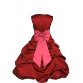 Apple Red/Watermelon Satin Pick-Up Bubble Flower Girl Dress 808T