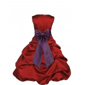 Apple Red/Plum Satin Pick-Up Bubble Flower Girl Dress 808T