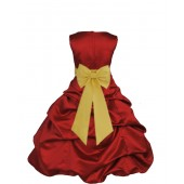 Apple Red/Sunbeam Satin Pick-Up Bubble Flower Girl Dress 808T