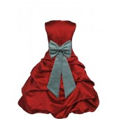 Apple Red/Sage Satin Pick-Up Bubble Flower Girl Dress 808T