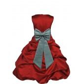 Apple Red/Sage Satin Pick-Up Bubble Flower Girl Dress 808T