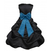Black/Turquoise Satin Pick-Up Bubble Flower Girl Dress Formal 808T