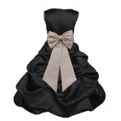 Black/Champagne Satin Pick-Up Bubble Flower Girl Dress Formal 808T