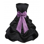Black/Wisteria Satin Pick-Up Bubble Flower Girl Dress Formal 808T