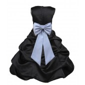 Black/Silver Satin Pick-Up Bubble Flower Girl Dress Formal 808T
