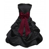 Black/Burgundy Satin Pick-Up Bubble Flower Girl Dress Formal 808T