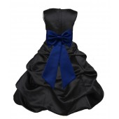 Black/Navy Blue Satin Pick-Up Bubble Flower Girl Dress Formal 808T