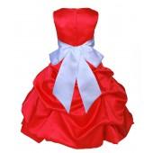Red/White Satin Pick-Up Bubble Flower Girl Dress Christmas 806S