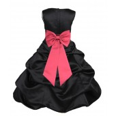 Black/Watermelon Satin Pick-Up Bubble Flower Girl Dress Formal 808T