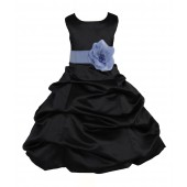 Black/Bluebird Satin Pick-Up Bubble Flower Girl Dress Formal 808T