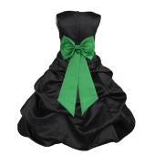 Black/Lime Satin Pick-Up Bubble Flower Girl Dress Formal 808T