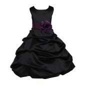 Black/Plum Satin Pick-Up Bubble Flower Girl Dress Formal 808T