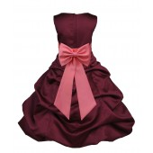Burgundy/Coral Satin Pick-Up Bubble Flower Girl Dress Event 808T