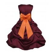 Burgundy/Orange Satin Pick-Up Bubble Flower Girl Dress Event 808T