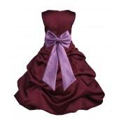 Burgundy/Wisteria Satin Pick-Up Bubble Flower Girl Dress Event 808T