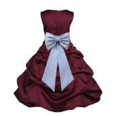 Burgundy/Silver Satin Pick-Up Bubble Flower Girl Dress Event 808T