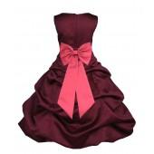 Burgundy/Watermelon Satin Pick-Up Bubble Flower Girl Dress Event 808T