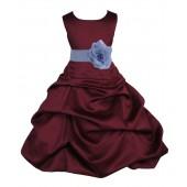 Burgundy/Bluebird Satin Pick-Up Bubble Flower Girl Dress Event 808T