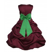 Burgundy/Lime Satin Pick-Up Bubble Flower Girl Dress Event 808T