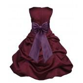 Burgundy/Plum Satin Pick-Up Bubble Flower Girl Dress Event 808T