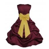 Burgundy/Sunbeam Satin Pick-Up Bubble Flower Girl Dress Event 808T