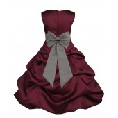 Burgundy/Mercury Satin Pick-Up Bubble Flower Girl Dress Event 808T