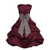 Burgundy/Mercury Satin Pick-Up Bubble Flower Girl Dress Event 808T