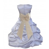 Silver/Ivory Satin Pick-Up Bubble Flower Girl Dress Stylish 808T