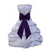 Silver/Purple Satin Pick-Up Bubble Flower Girl Dress Stylish 808T