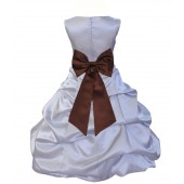Silver/Brown Satin Pick-Up Bubble Flower Girl Dress Stylish 808T