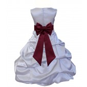 Silver/Burgundy Satin Pick-Up Bubble Flower Girl Dress Stylish 808T