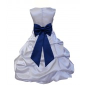 Silver/Navy Blue Satin Pick-Up Bubble Flower Girl Dress Stylish 808T