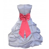 Silver/Watermelon Satin Pick-Up Bubble Flower Girl Dress Stylish 808T