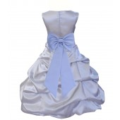 Silver/Bluebird Satin Pick-Up Bubble Flower Girl Dress Stylish 808T