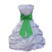 Silver/Lime Satin Pick-Up Bubble Flower Girl Dress Stylish 808T