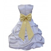 Silver/Canary Satin Pick-Up Bubble Flower Girl Dress Stylish 808T
