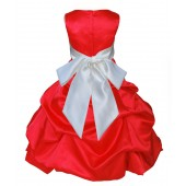 Red/Ivory Satin Pick-Up Bubble Flower Girl Dress Christmas 806S