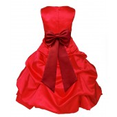 Red/Apple Red Satin Pick-Up Bubble Flower Girl Dress Christmas 808T