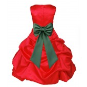 Red/Clover Green Satin Pick-Up Bubble Flower Girl Dress Christmas 808T