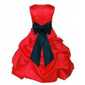 Red/Peacock Satin Pick-Up Bubble Flower Girl Dress Christmas 808T