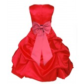 Red/Watermelon Satin Pick-Up Bubble Flower Girl Dress Christmas 808T