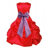 Red/Wisteria Satin Pick-Up Bubble Flower Girl Dress Christmas 808T