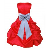 Red/Silver Satin Pick-Up Bubble Flower Girl Dress Christmas 808T