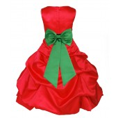 Red/Lime Satin Pick-Up Bubble Flower Girl Dress Christmas 808T