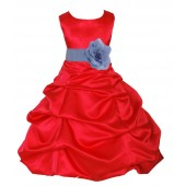 Red/Bluebird Satin Pick-Up Bubble Flower Girl Dress Christmas 808T